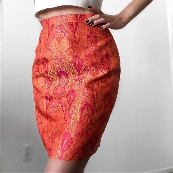 Escada Dresses & Skirts - Escada Red Orange Paisley Silk Brocade Skirt Suit